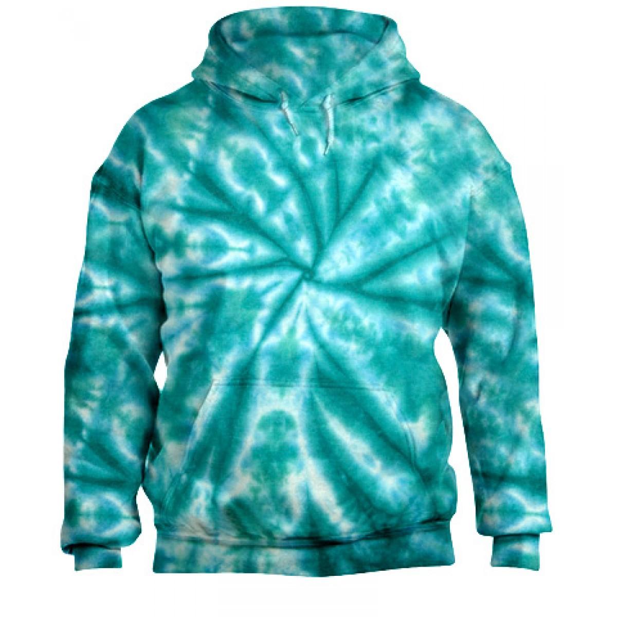 Tie-Dye Pullover Hooded Sweatshirt-Jade-YL
