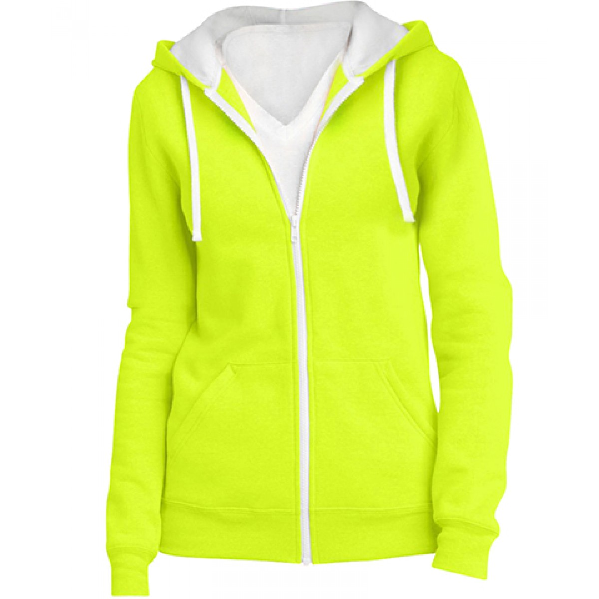 Juniors Full-Zip Hoodie-Safety Green-L