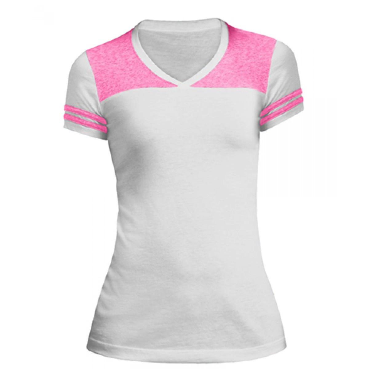 Juniors Varsity V-Neck Tee-White/Pink-3XL