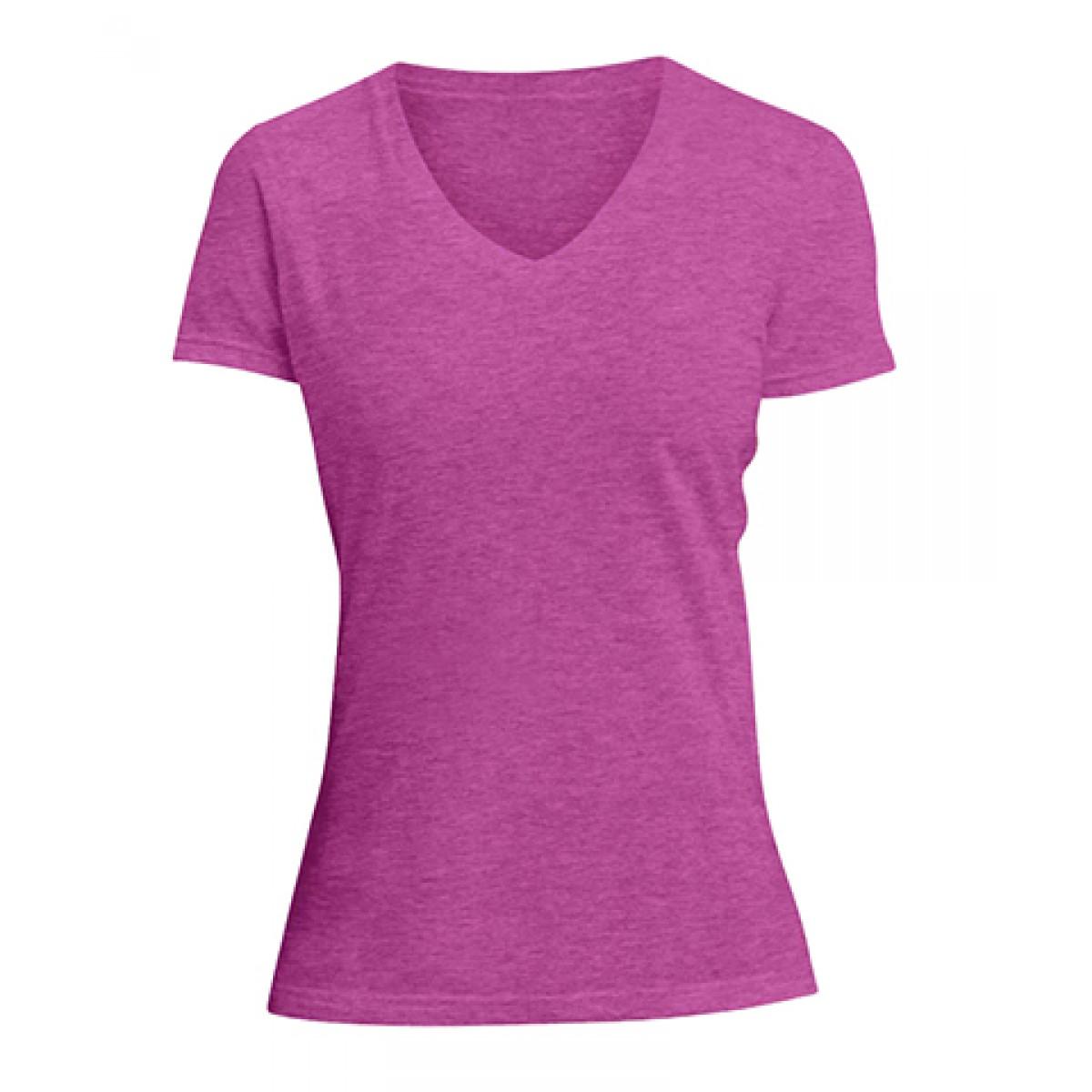 Ladies V-Neck Tee-Heathered Fuscia-XL