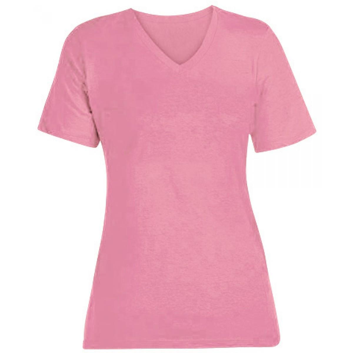 Econscious Ladies Short-Sleeve V-Neck-Pink-XL