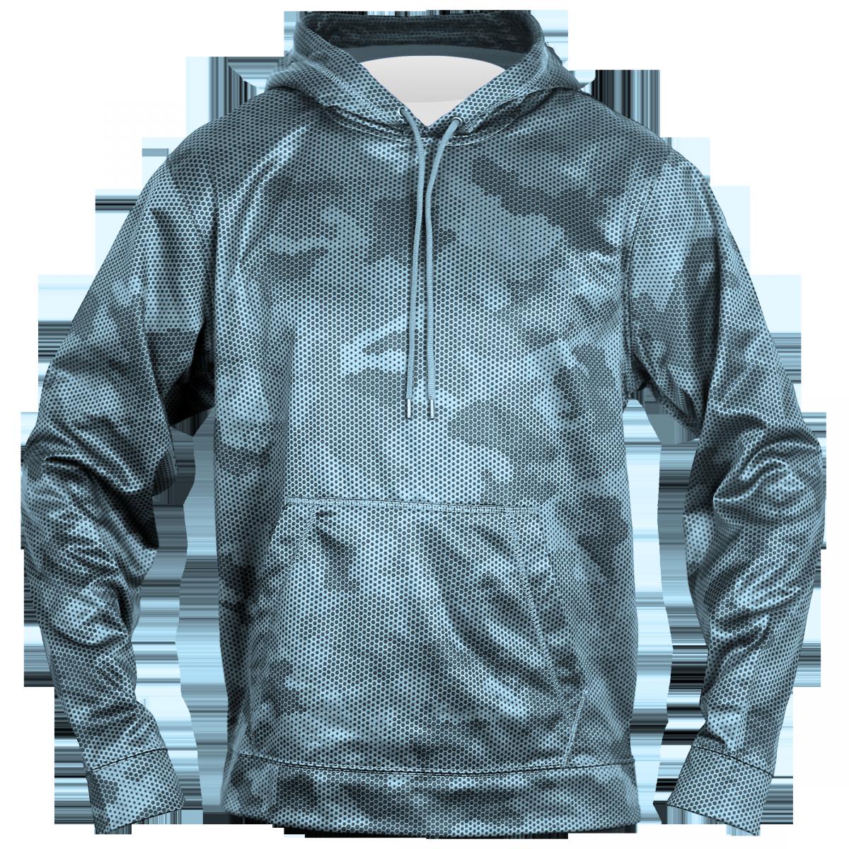 Sport-Tek® Sport-Wick® CamoHex Fleece Hooded Pullover-Indigo Blue-YL