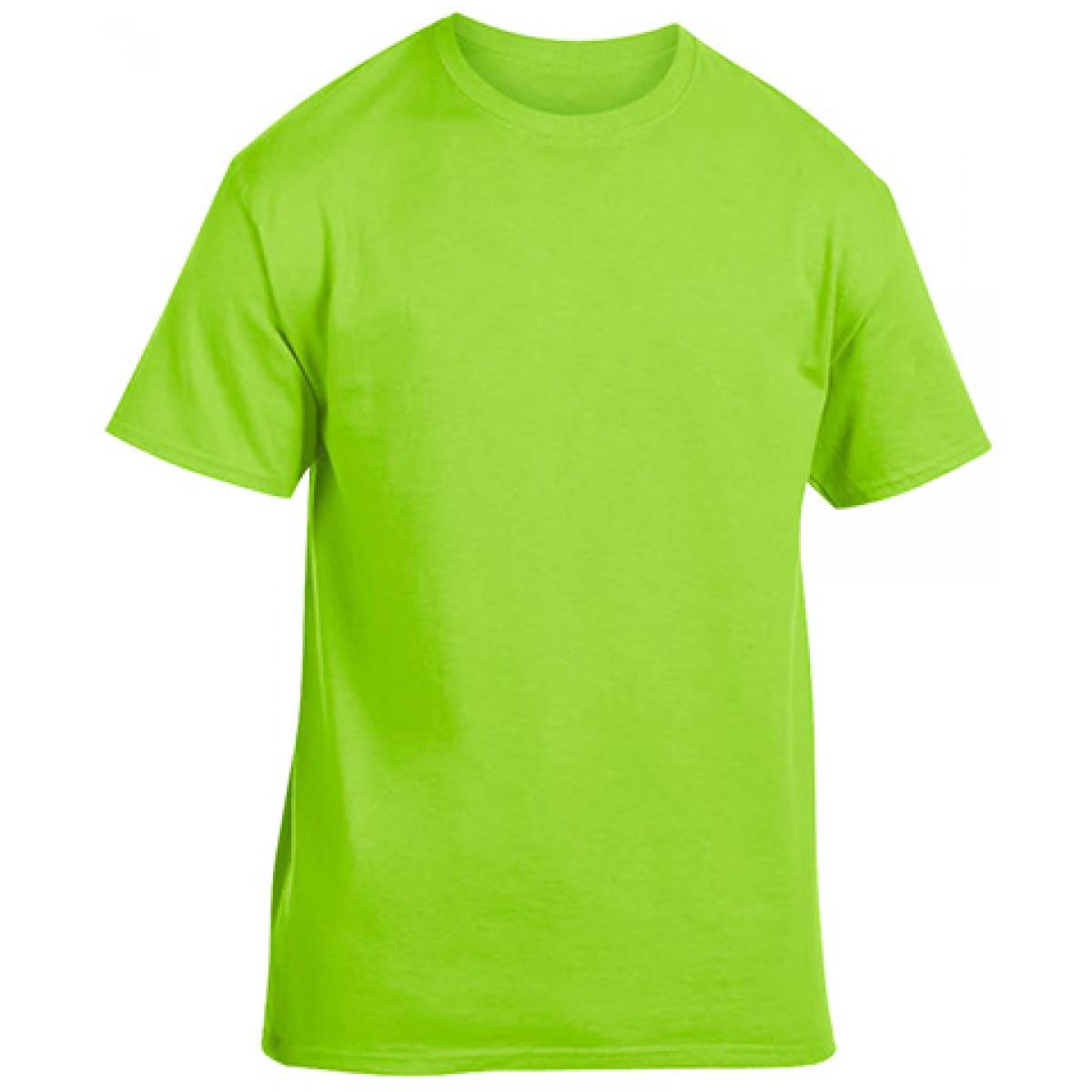Soft 100% Cotton T-Shirt-Lime Green-L