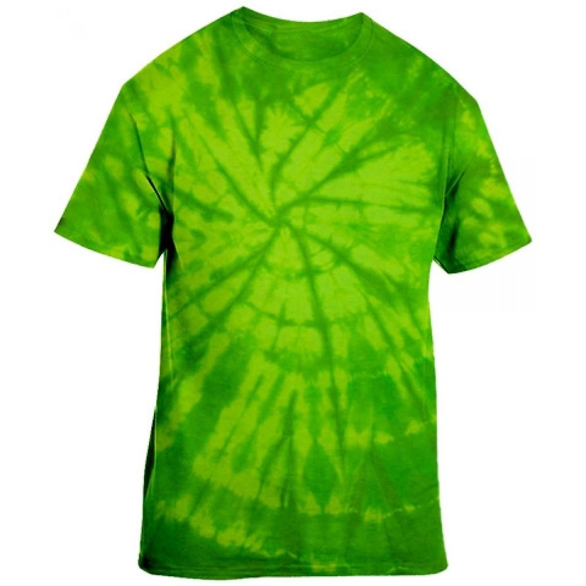 Tie-Dye Neon Green Short Sleeve-Neon Green-YL