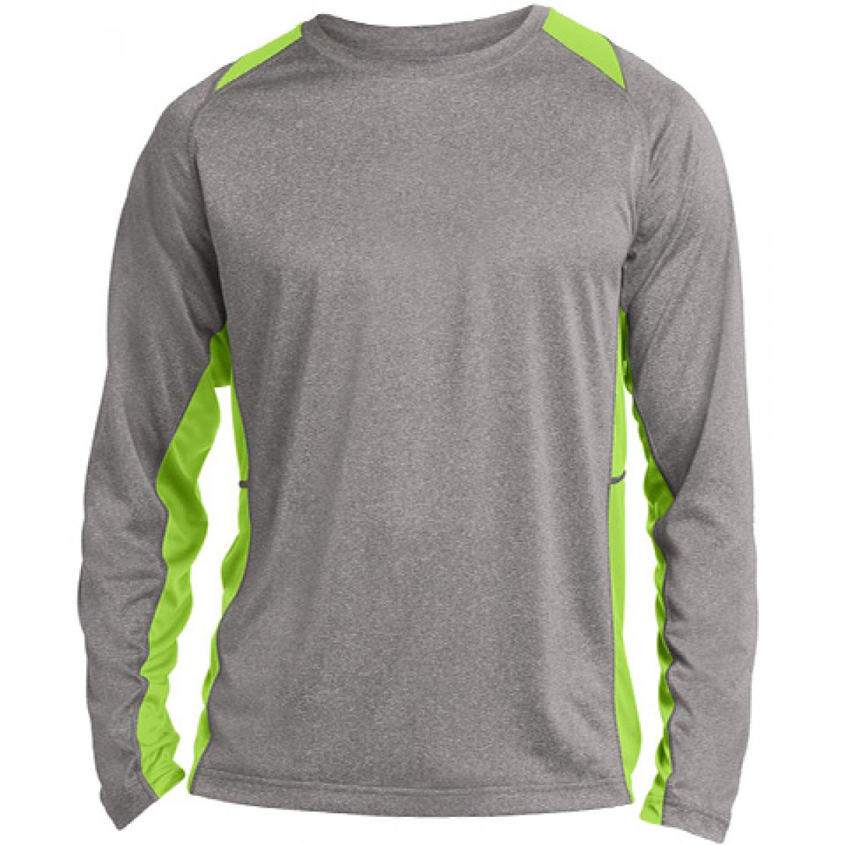 Long Sleeve Heather Colorblock Contender-Gray/Green-YL