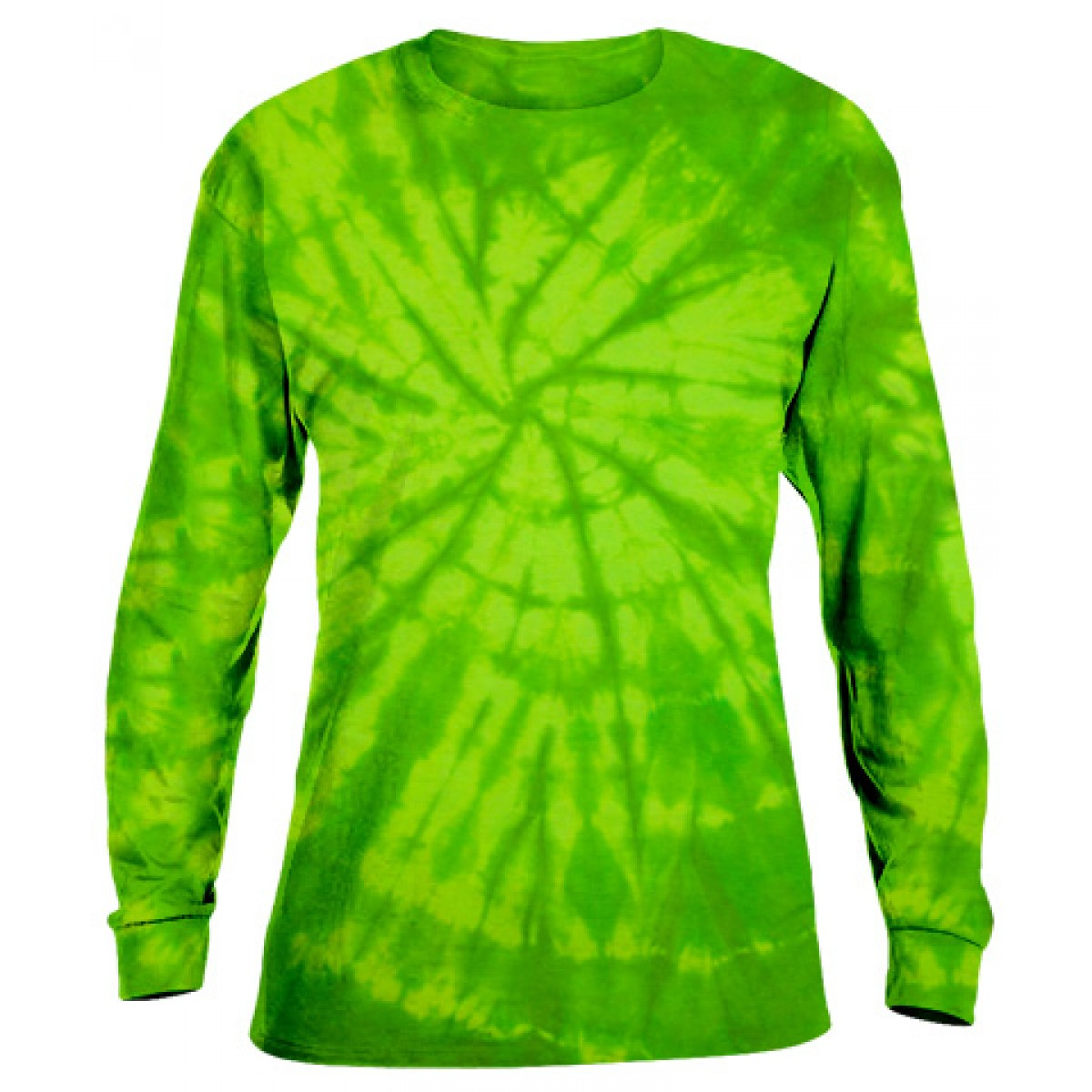 Tie-Dye Long Sleeve Shirt -Lime Green-XL