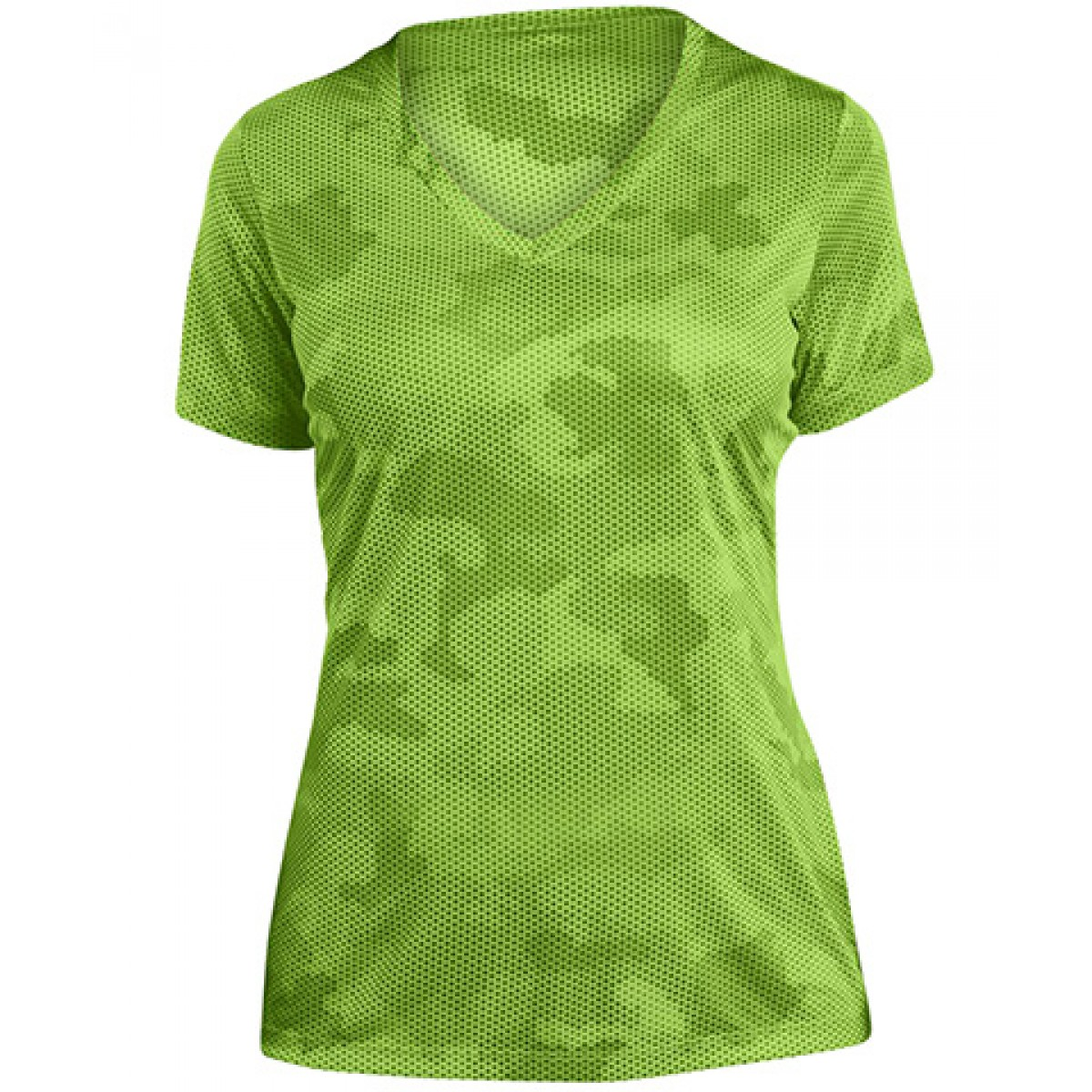V-Neck Camo Hex Womens -Green-S