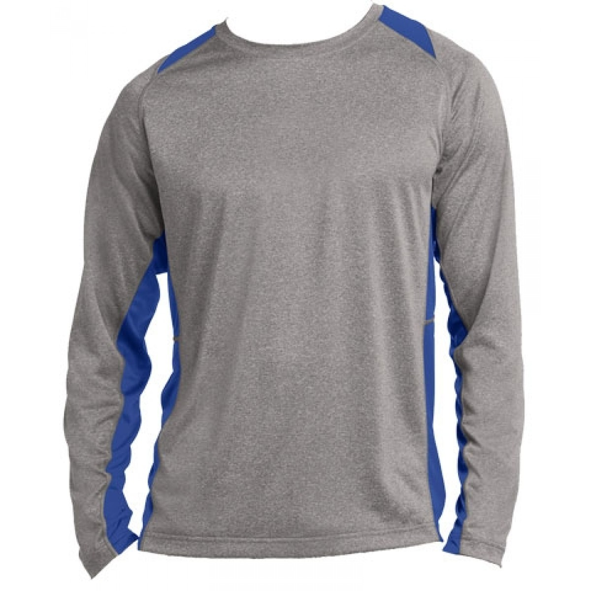 Long Sleeve Heather Colorblock Contender-Royal Blue-S