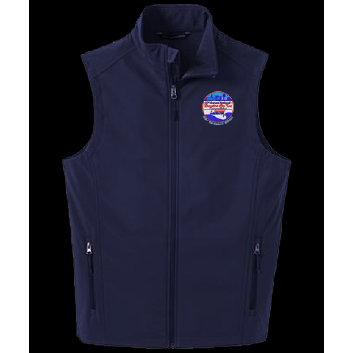 Embroidered Soft Shell Vest-Navy-XL