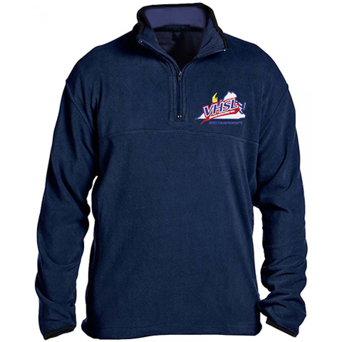 Embroidered Microfleece Quarter-Zip Pullover-Royal Blue-XL
