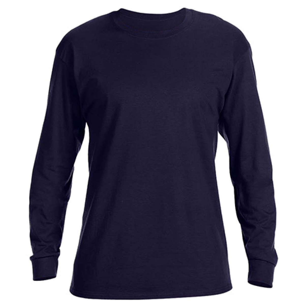 Basic Long Sleeve Crew Neck -Navy-3XL