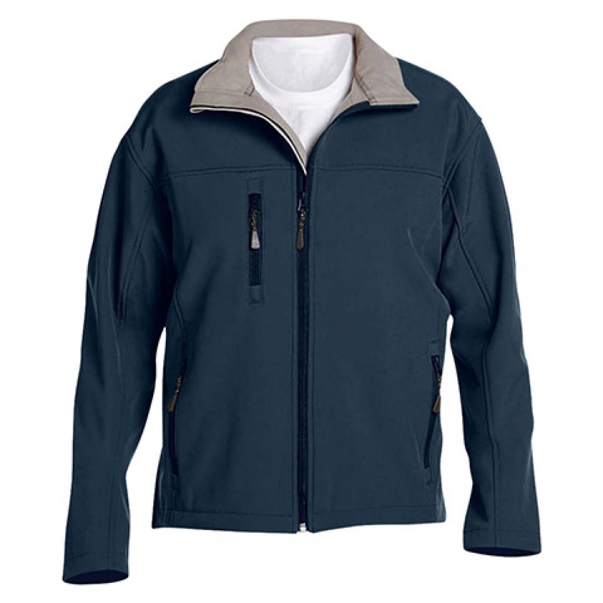 Men's Soft Shell Jacket-Navy-3XL