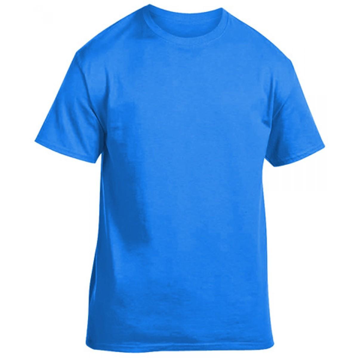 Soft 100% Cotton T-Shirt-Neon Blue-XL