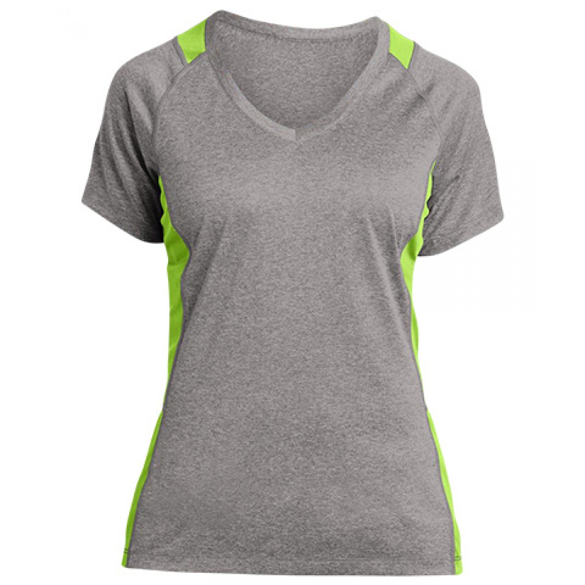 Ladies' Heather Colorblock Contender V-Neck Tee-Heather/Lime-L