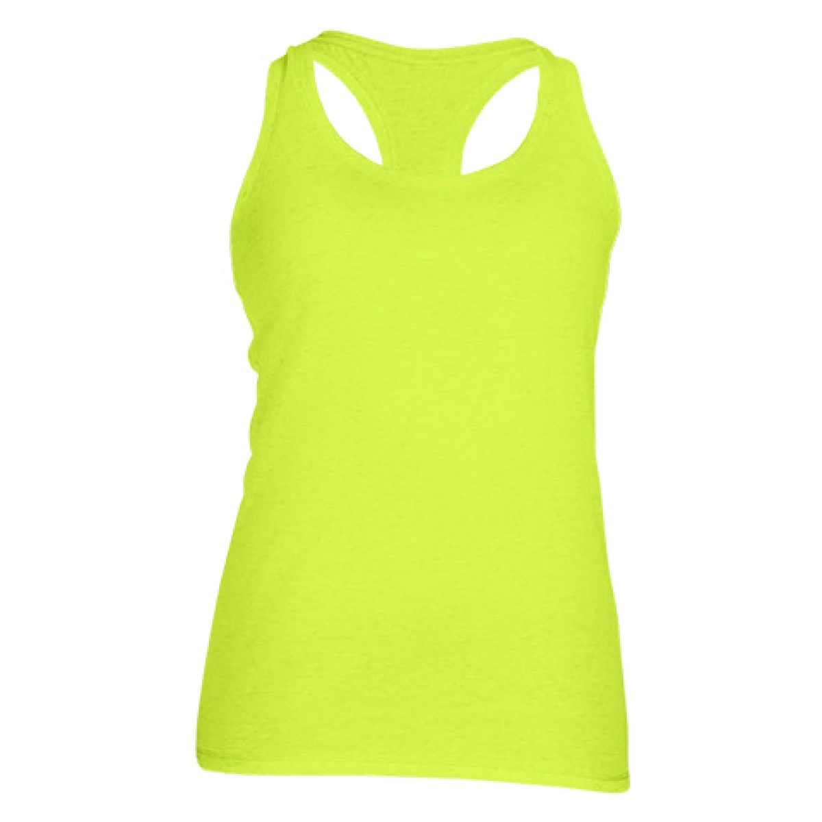 Ladies' Performance Racerback Tank-Safety Green-YL