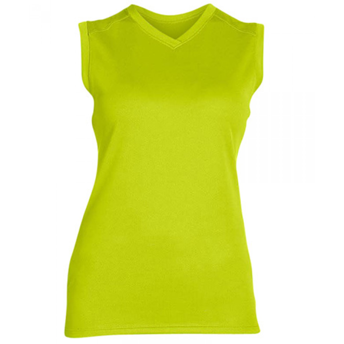 Ladies' Athletic V-Neck Workout T-Shirt-Neon Green-2XL