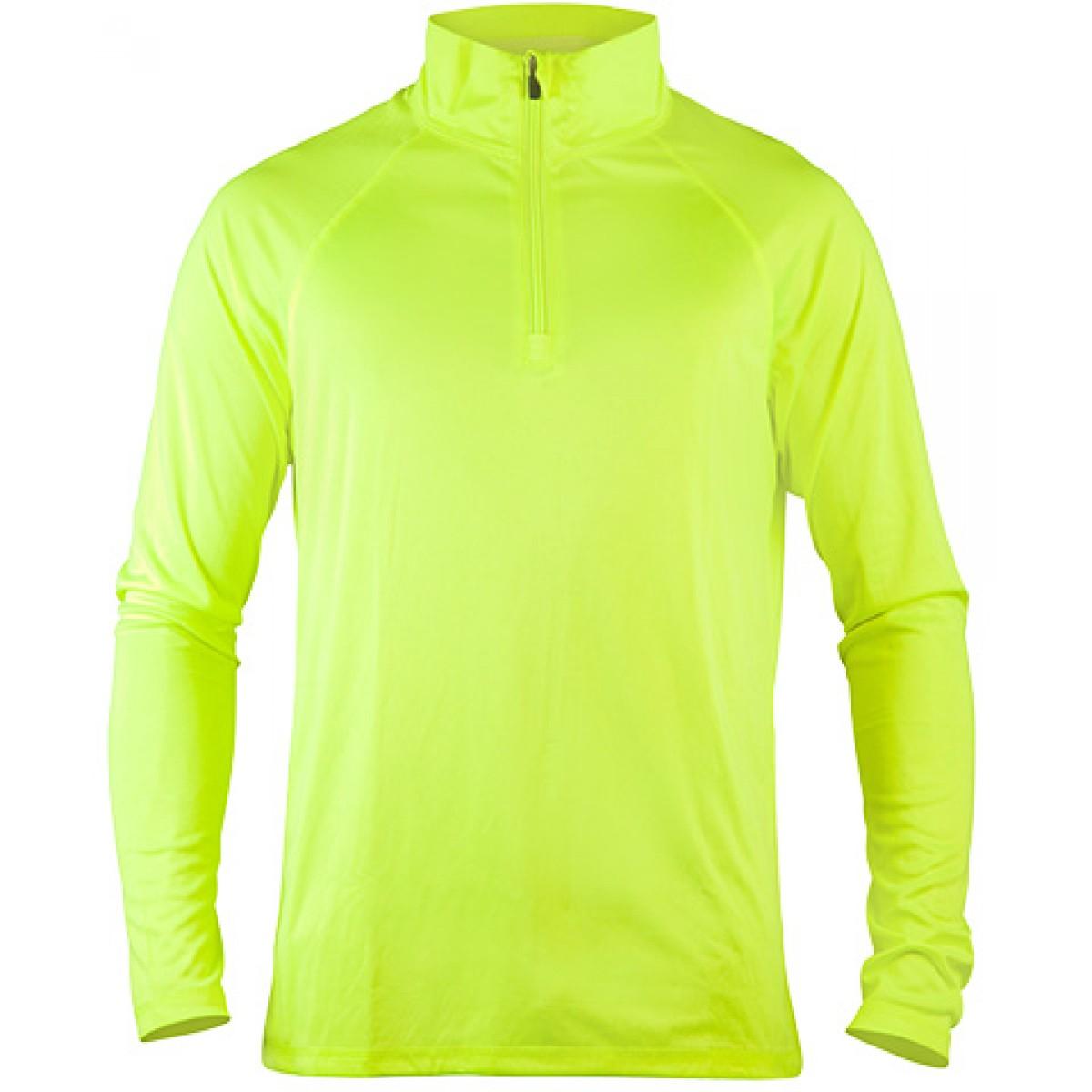 Men's Quarter-Zip Lightweight Pullover-Neon Green-XL