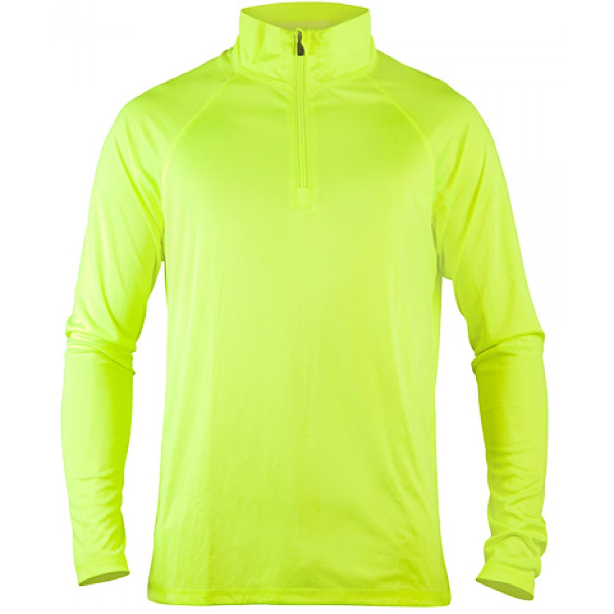 Men's Quarter-Zip Lightweight Pullover-Neon Green-YL