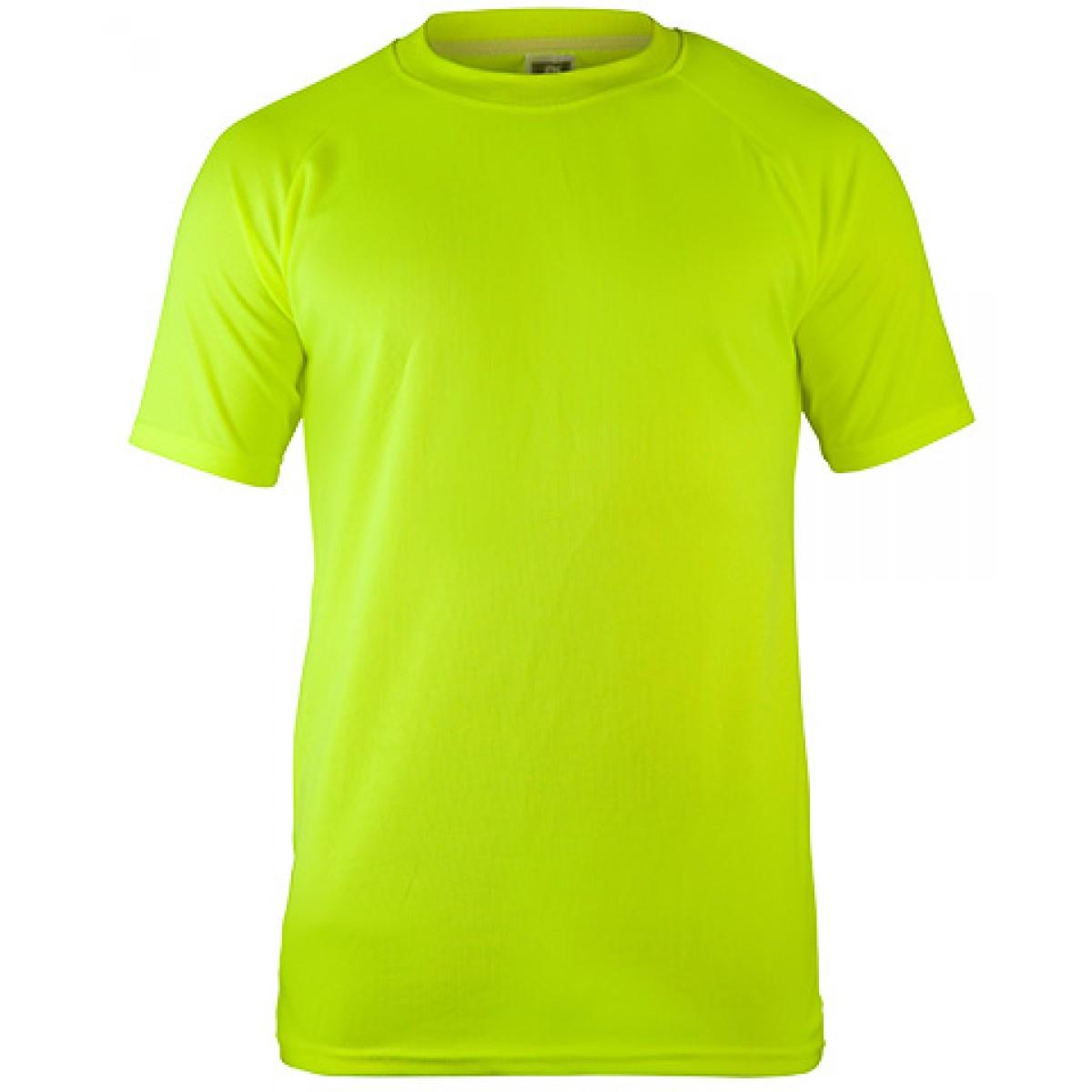 Short Sleeves Mesh Performance T-shirt-Safety Green-M