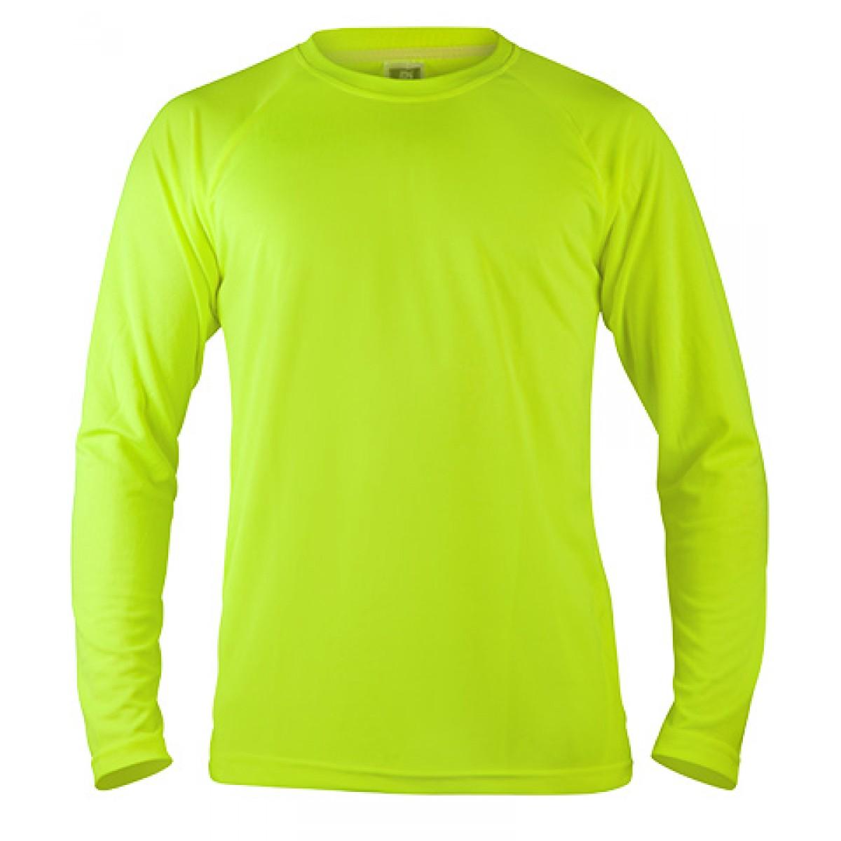 Long Sleeve Mesh Performance T-shirt-Neon Green-XL