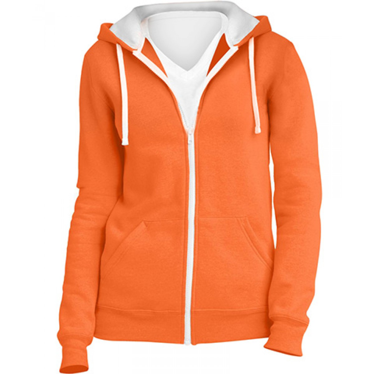 Juniors Full-Zip Hoodie-Neon Orange -M