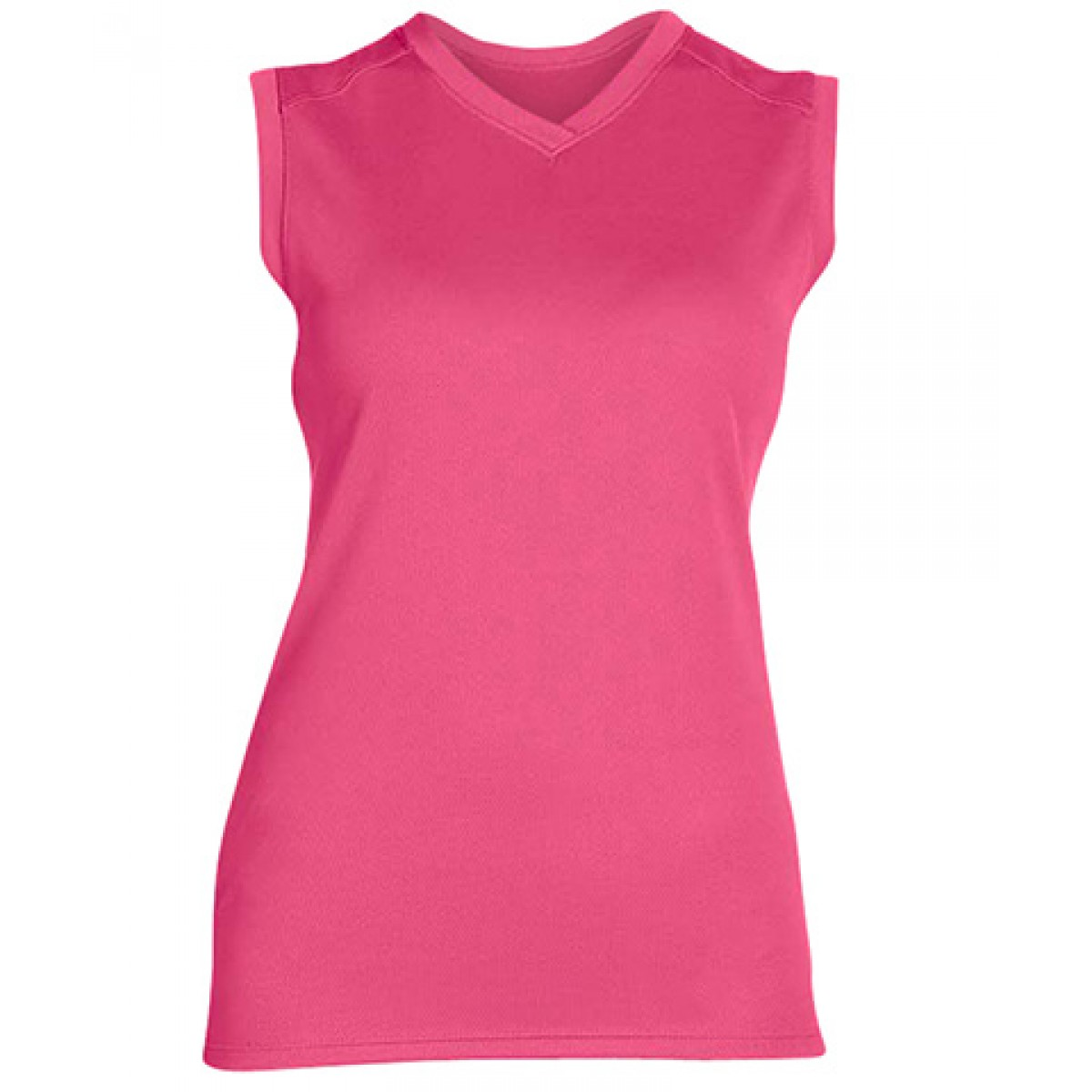 Ladies' Athletic V-Neck Workout T-Shirt-Neon Pink-XL