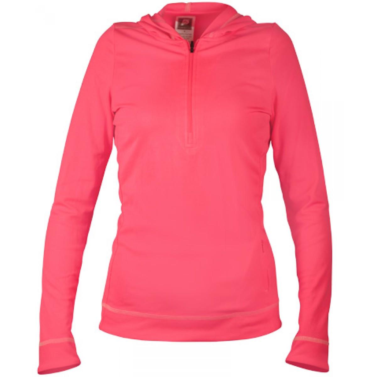 Half-Zip Ladies Long-Sleeve Hoodie-Neon Pink-L