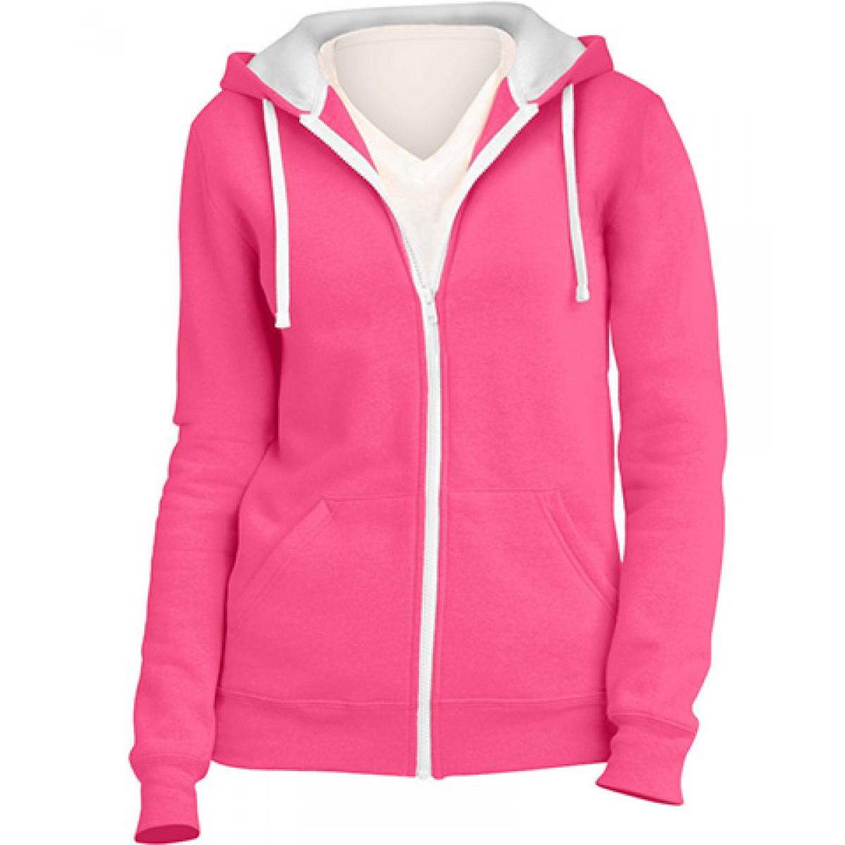 Juniors Full-Zip Hoodie-Neon Pink-M