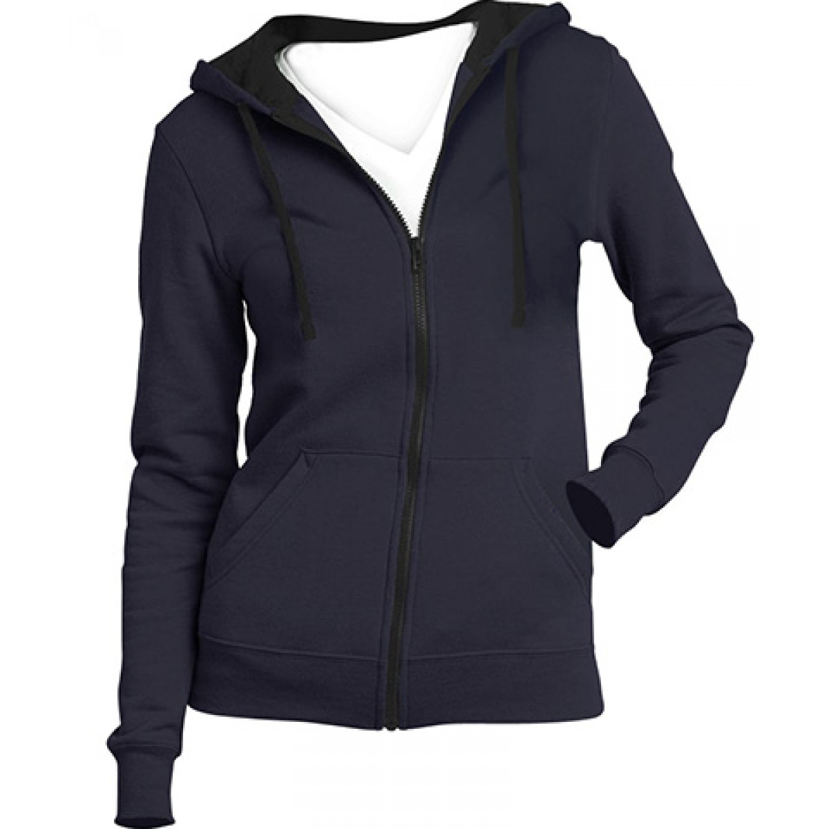 Juniors Full-Zip Hoodie-Navy-L