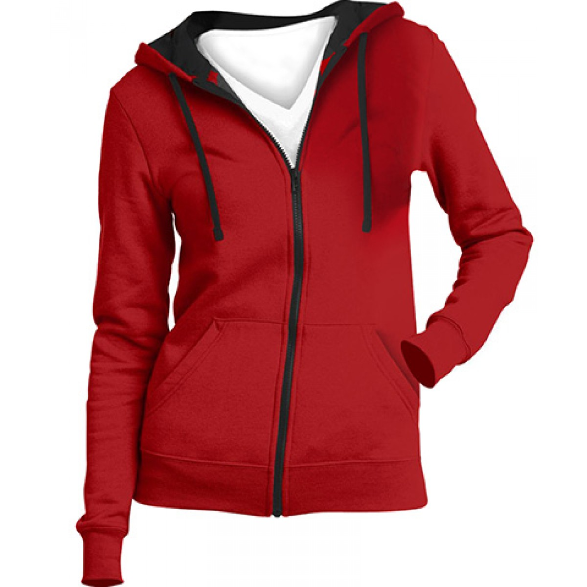 Juniors Full-Zip Hoodie-Red-L