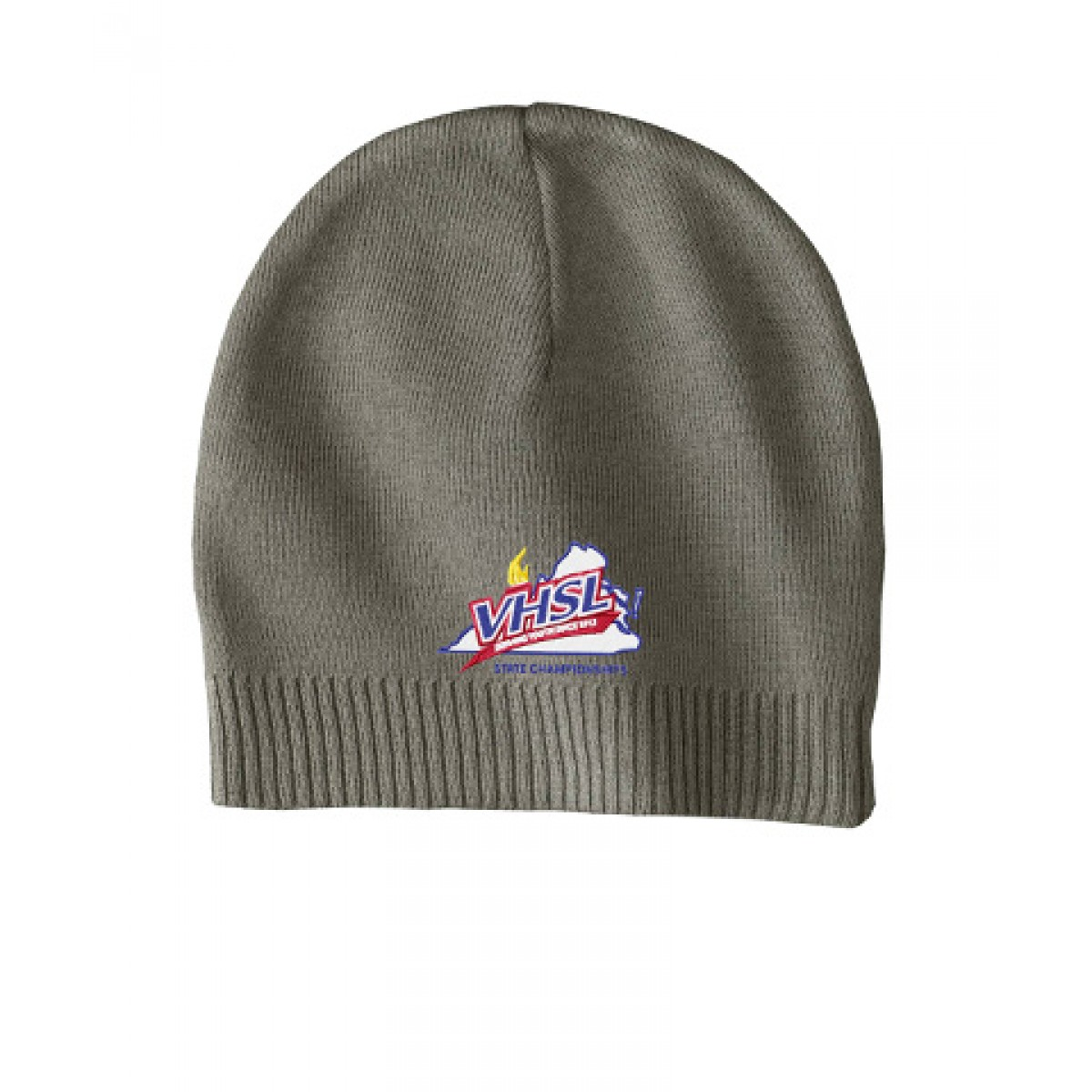Embroidered 100% Cotton Beanie-Gray/Green-OS