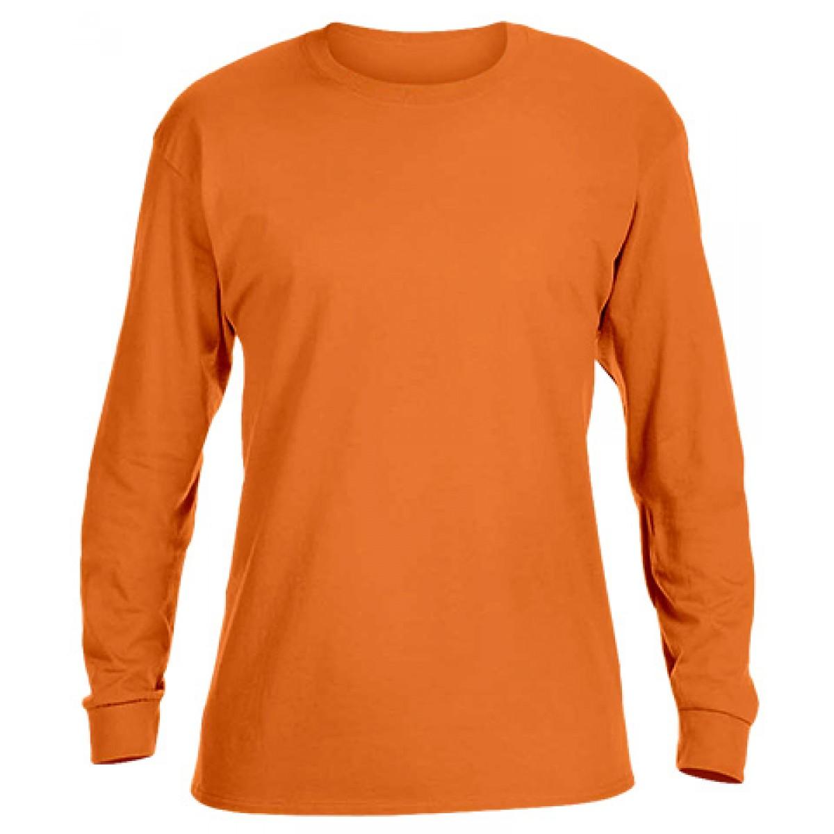 Basic Long Sleeve Crew Neck -Orange-2XL