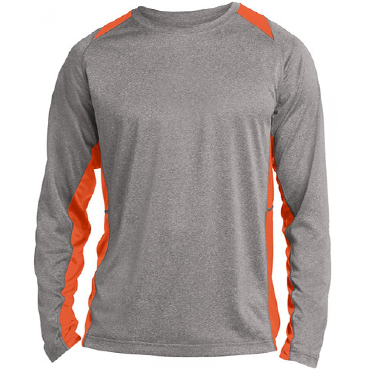 Long Sleeve Heather Colorblock Contender-Orange-2XL