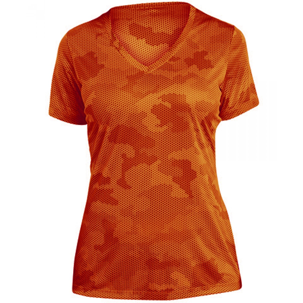 Ladies CamoHex V-Neck Tee-Orange-L