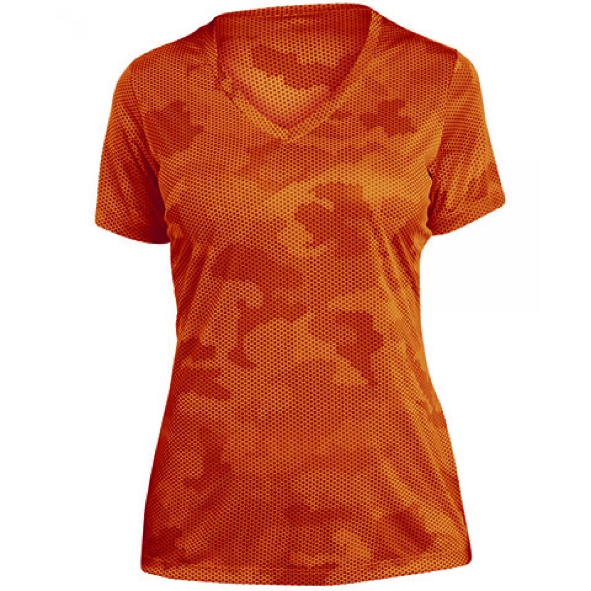 Ladies CamoHex V-Neck Tee-Orange-2XL