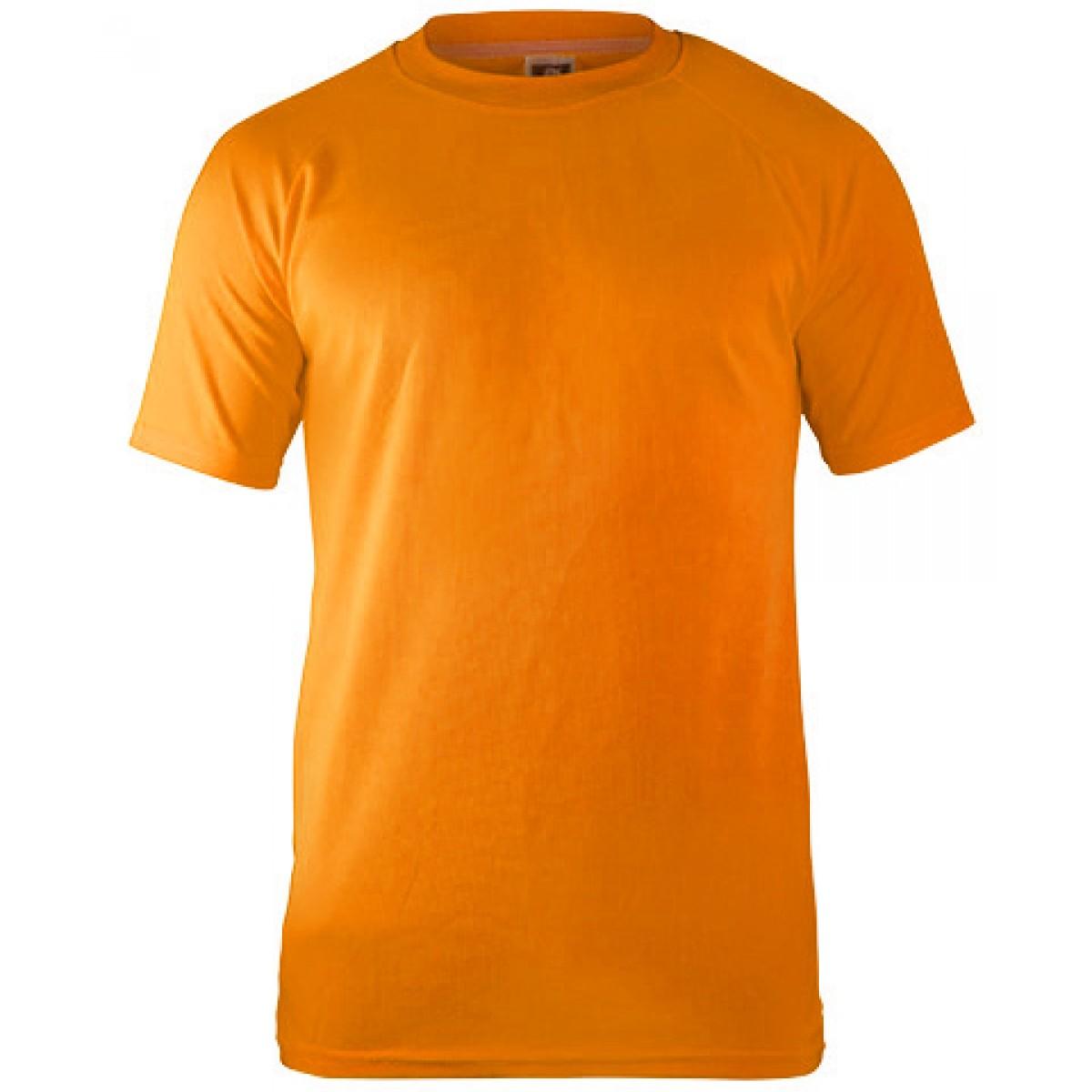 Short Sleeves Mesh Performance T-shirt-Safety Orange-YL