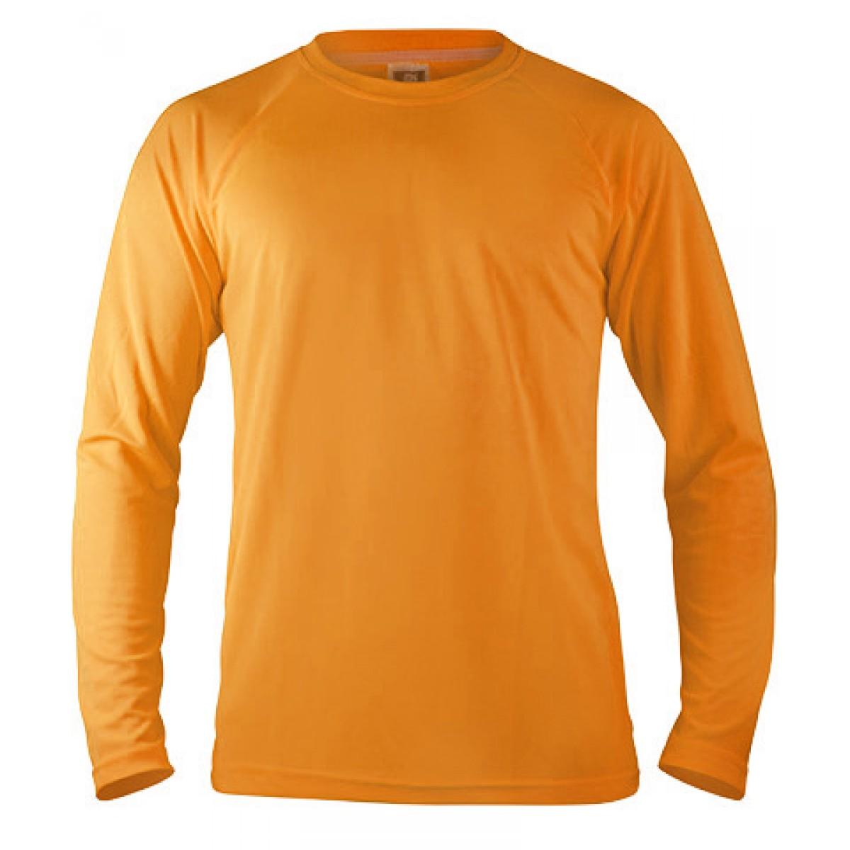 Long Sleeve Mesh Performance T-shirt-Neon Orange -L