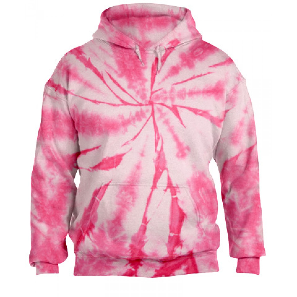 Tie-Dye Pullover Hooded Sweatshirt-Pink-2XL