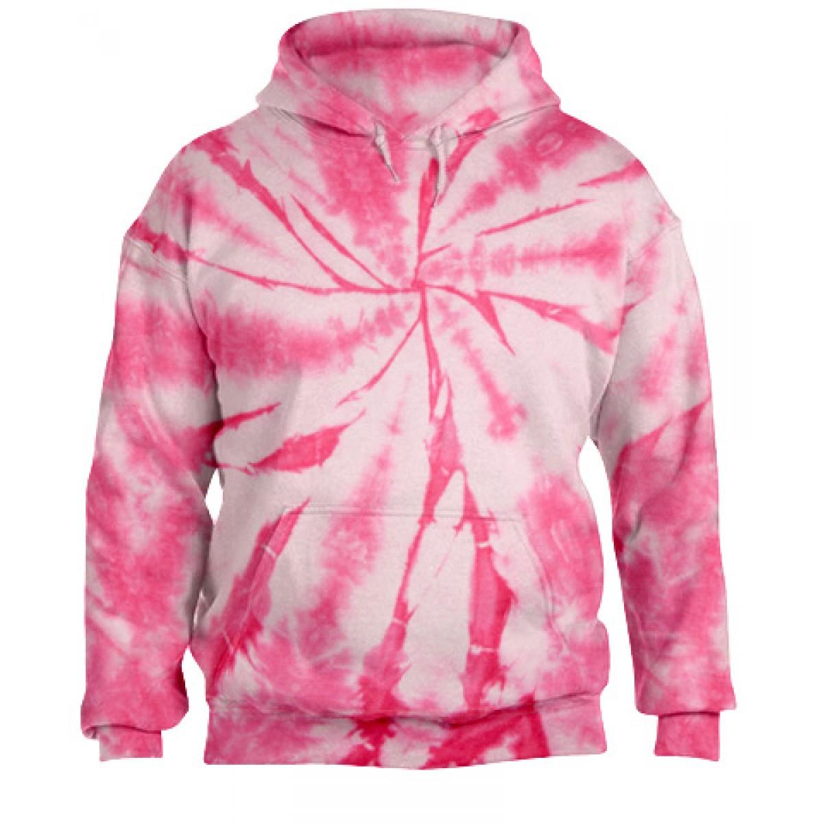 Tie-Dye Pullover Hooded Sweatshirt-Pink-3XL
