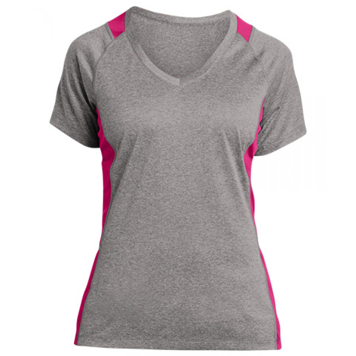 Ladies' Heather Colorblock Contender V-Neck Tee-Heather/Pink-M
