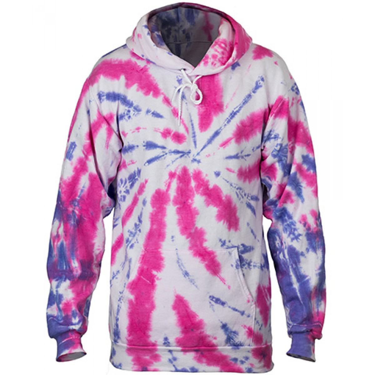 Tie-Dye Pullover Hooded Sweatshirt-Pink-XL