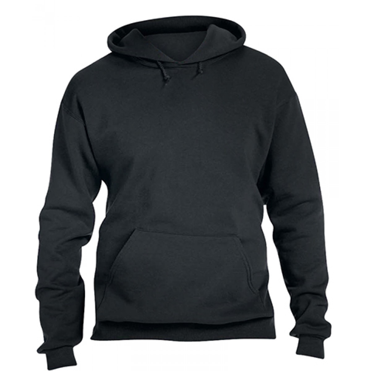 Pullover Hood 50/50 Preshrunk Fleece-Black-L