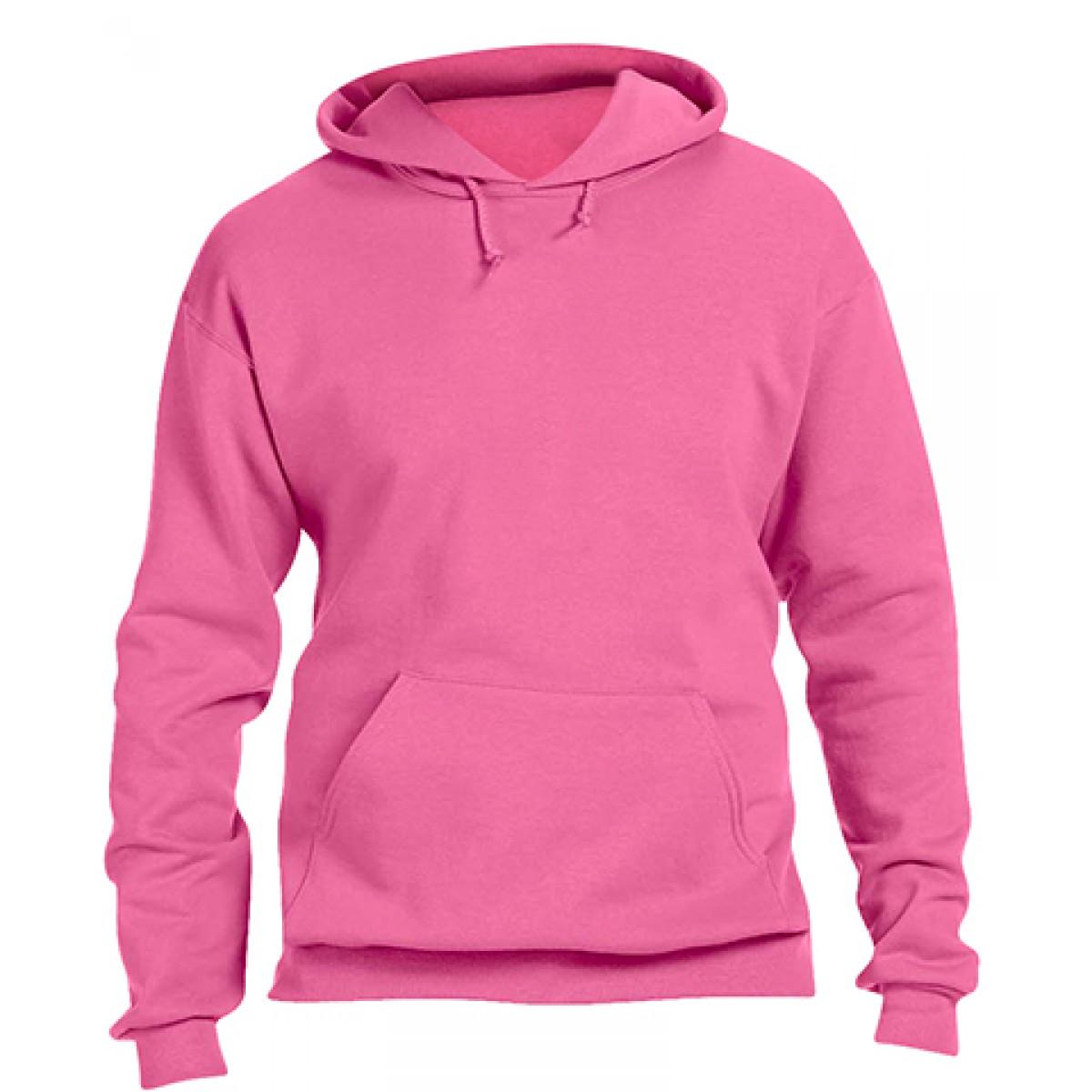 Pullover Hood 50/50 Preshrunk Fleece-Neon-Pink-S