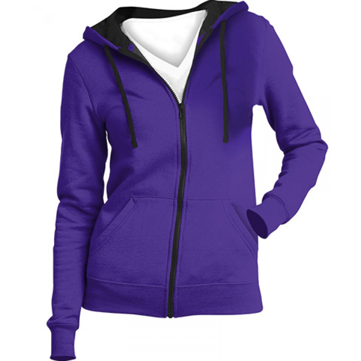 Juniors Full-Zip Hoodie-Purple-M
