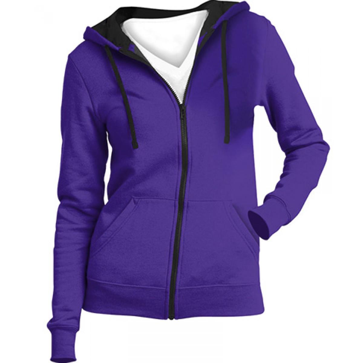 Juniors Full-Zip Hoodie-Purple-L