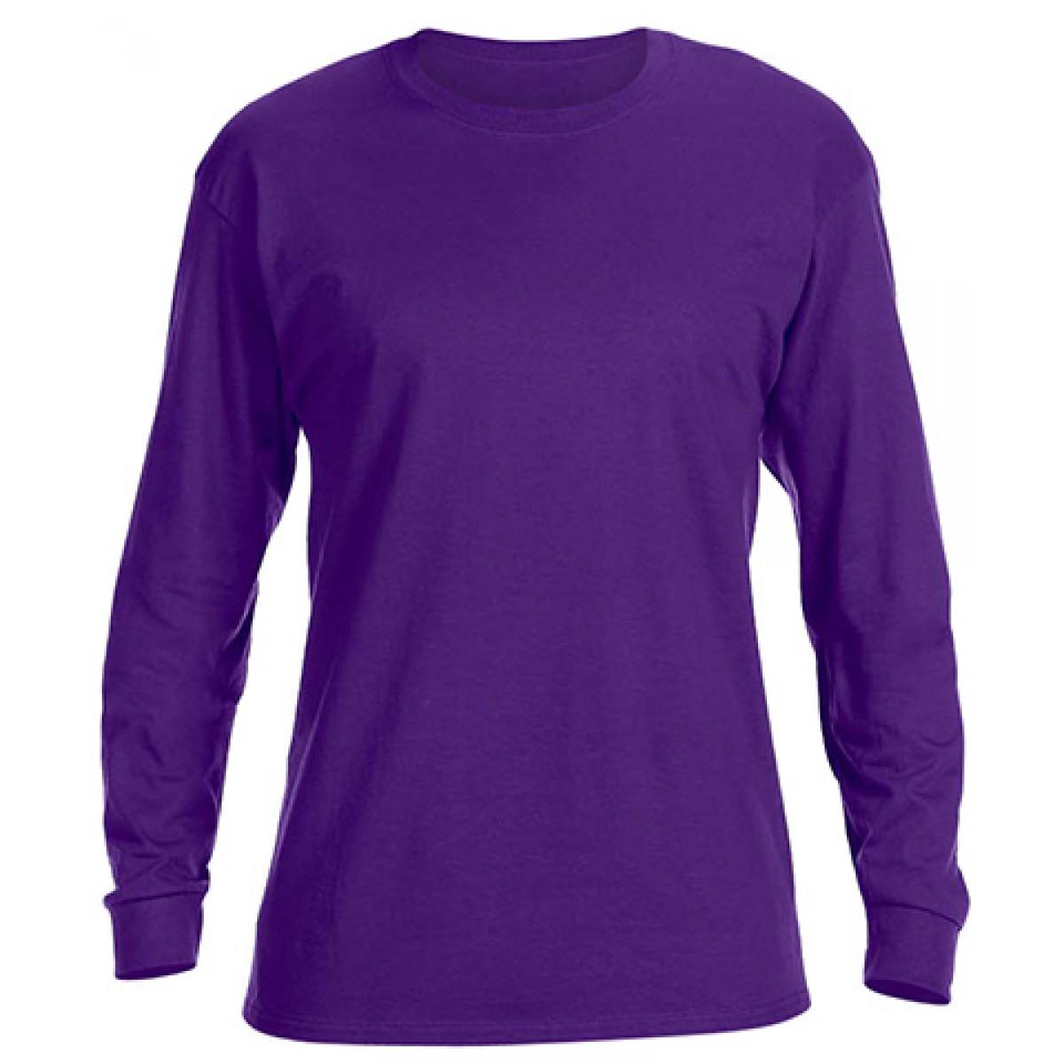 Basic Long Sleeve Crew Neck -Purple-L