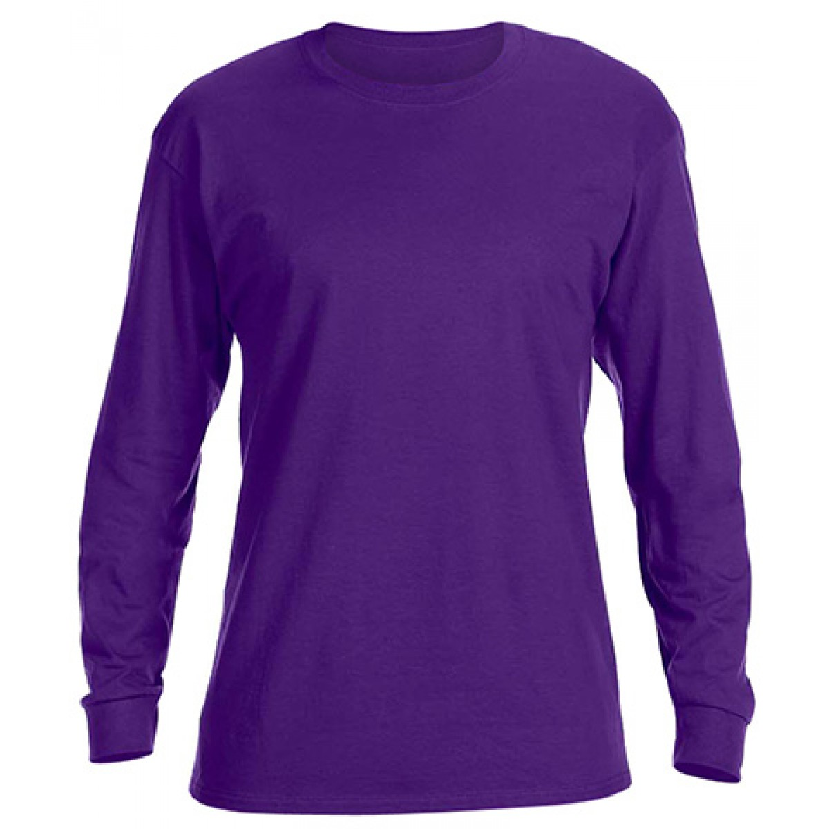 Basic Long Sleeve Crew Neck -Purple-XL