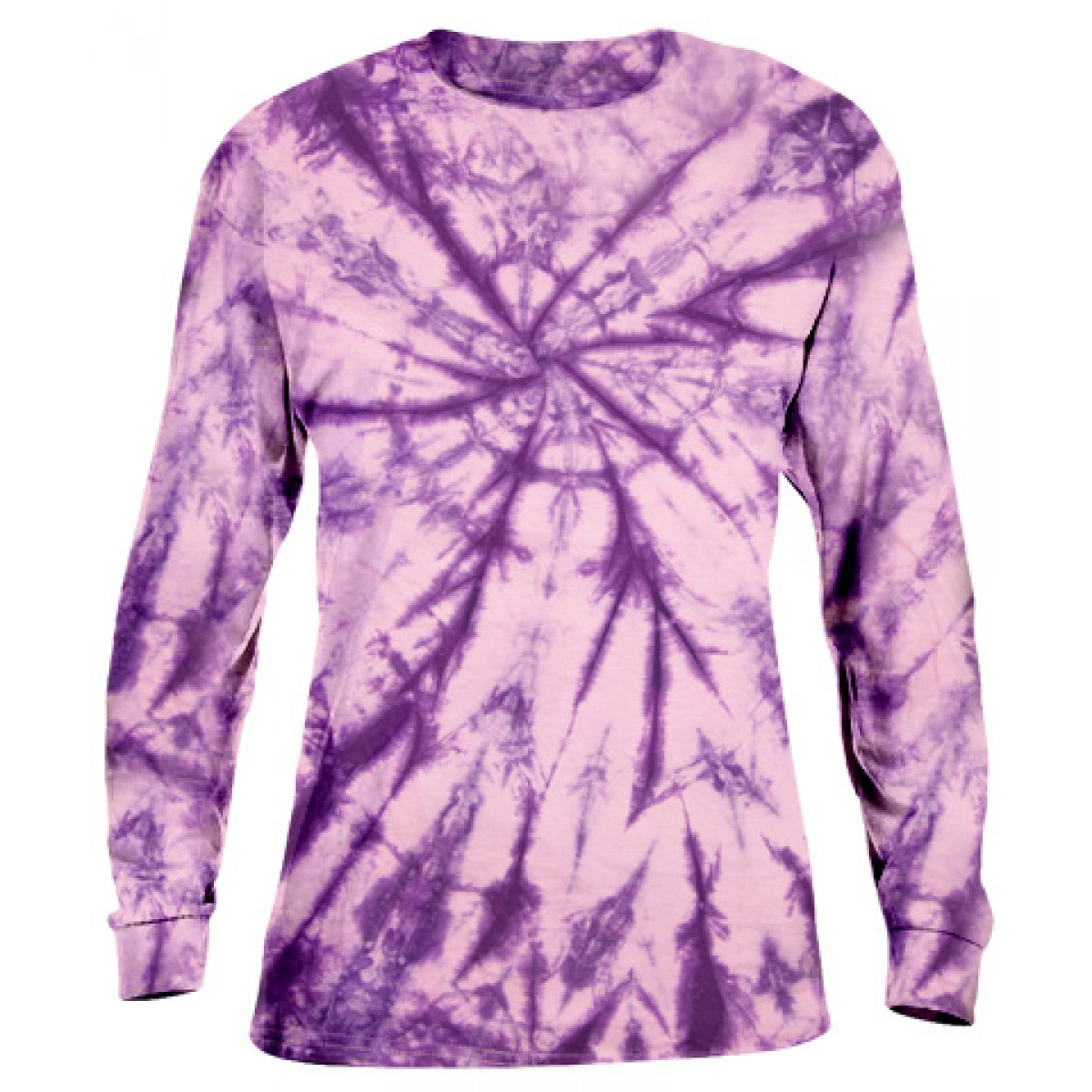 Tie-Dye Long Sleeve Shirt -Purple-XL