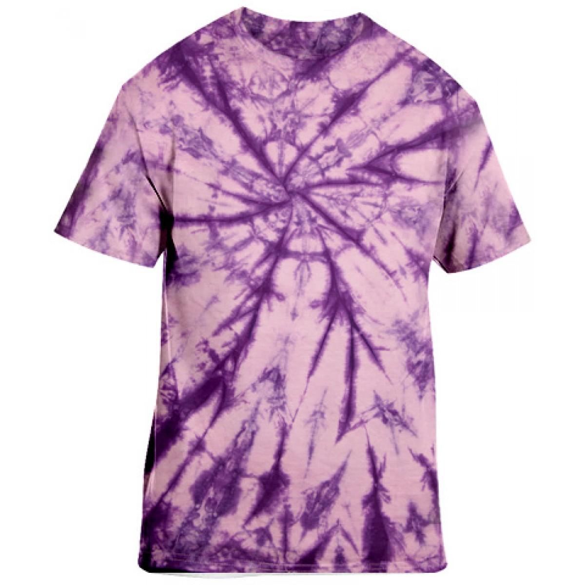Tie-Dye Purple Short Sleeve-Purple-YL