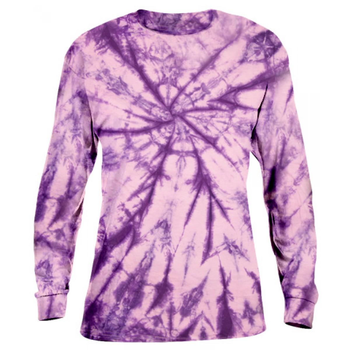 Tie-Dye Long Sleeve-Purple-S